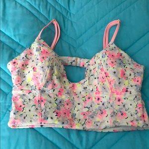 VS white floral bikini/tankini top